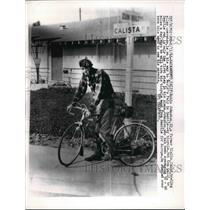 1962 Press Photo Robin Johnston Riding Bicycle To World Fair In Seattle