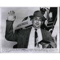 1956 Press Photo Captain Walter Equils at Idlewild Airport in NY