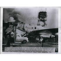 1955 Press Photo Greenville Airbase Runaway Plane Kills 1 - nea35732