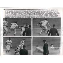 1962 Press Photo Bob Lillis Colts Shortstop Tagged Out By Joe Adcock Braves