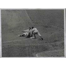 1934 Press Photo Jorgens Out at Third in Yankee and Cleveland Game