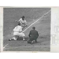 1947 Press Photo Pirates Pitcher Kirby Higbe Making It Safely to Third Base