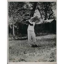 1936 Press Photo Mickey Cochrane Catcher Detroit Tigers MLB Rests Cody Wyoming