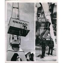 1953 Press Photo A daredevil dude demonstrating the use of a new safety device