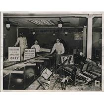 1935 Press Photo Damaged of the  Play House after Texas Rangers raid