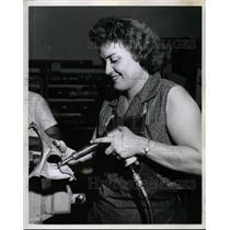 1960 Press Photo Doris Hawver, Airplane Mechanic