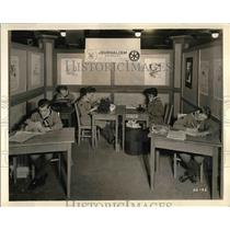 1936 Press Photo Boy Scout at Press Room.