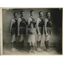 1924 Press Photo Guy, Thomas, Clifford, Rax, Frtiz and Dr. M.L. Huey, Basketball