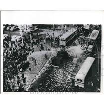 1973 Press Photo Fire Truck Hoses Protesting Crowd in Uruguay - nea62237