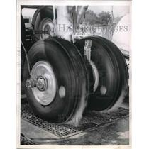 1957 Press Photo The testing of airplane tires - nea56156