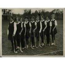 1927 Press Photo Temple University Line Up Girls Hockey Team Practice Session