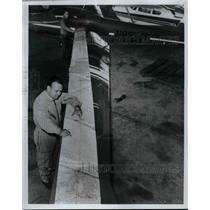1967 Press Photo Pilot James Bede Charting Course for Around-the-World Flight