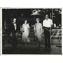 1932 Press Photo AJ Notesteine, Celia Logan,Mrs Rercer, E Novak, Shuffleboard