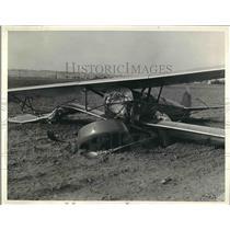 1939 Press Photo Wrecked Plane in Bean Field Pilot J. Grant Mac Donald Killed