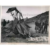 1939 Press Photo Wreckage of Elmer E. Scott Crash in California