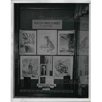 1942 Press Photo Herb Black and Cartoons on display at Cleveland Library