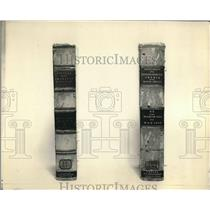 1932 Press Photo Worn leather book bindings before lacquering