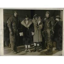 1928 Press Photo Lt. Harry Johnson, Miss Maude Dawson, Mrs. Evangeline Lindbergh