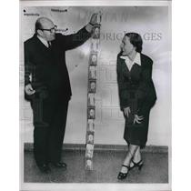 1951 Press Photo longest ticket ever sold by Trans World Airlines