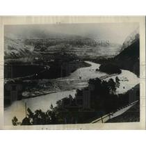 1926 Press Photo Overhead view of Avalanche site