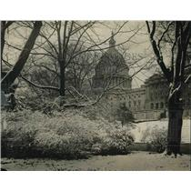 1924 Press Photo Snow Scene In Washington D.C. At Nation's Capitol