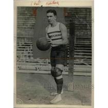 1924 Press Photo Pennsylvania Basketball Team Guard Bill Knoass w/ Ball in Hand