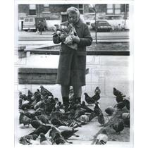 1973 Press Photo Dorothy Seall Park Feeding Pigeons Nut - RRS39919