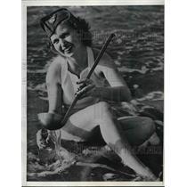 1936 Press Photo Isabelle Steven, TWA Hostess Filling Bottle for Christening
