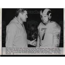1952 Press Photo Rob Waterfield Quarterback Rams Coach Joe Stydanar Bears Game