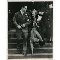 1939 Press Photo Jeff Heath Cleveland Indians Marries Althea Galland Seattle WA