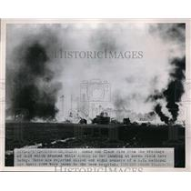 1952 Press Photo Fire & Smoke Rise From Wreckage of B29