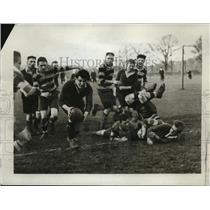 1923 Press Photo Rugby Player Gets the Ball Between London Scottish & St. Thomas