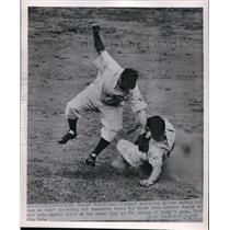 1951 Press Photo George Strickland of Pirates Slides, Bob Ramazotti of Cubs