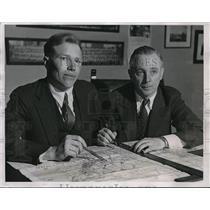 1935 Press Photo Pilots Gilbert Stoll And James Prosser Plot Upcoming Flight