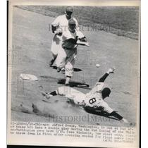 1948 Press Photo Alfred Evans Washington Senators Out at 2nd Baseman - nes00763