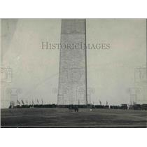 1922 Press Photo People gather the Washington Monument with flags of 48 states