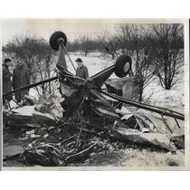 1941 Press Photo Wreckage of Cub Monoplane After Colliding with Another Plane