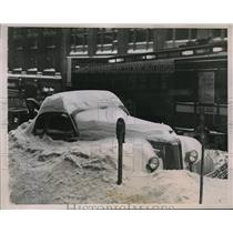 1940 Press Photo Cars buried in snow after storm in Omaha, Neb. - neb47937