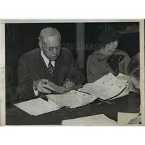 1933 Press Photo John Frey, labor advocate at Senate subcommittee hearing