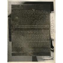 1932 Press Photo Closeup of Plate Braille System of Printing in Moon Type