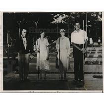 1932 Press Photo Shuffleboard Champs, A.J. Notestine, Celia Logan, Percer, Novak