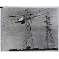 1960 Press Photo Helicopter in Appleton,WI Inspects Power Lines - neb58507