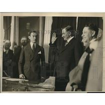 1920 Press Photo John J Dorman sworn in by Mayor Walker as Fire Comm of NYC