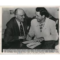 1951 Press Photo Wilford White Signs With Chicago Bears, George Hals, Owner