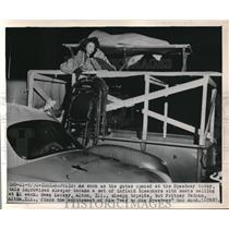 1949 Press Photo Owen Lackey, Fritzey Pedone, Indianapolis 500 Bleachers