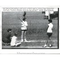 1957 Press Photo Central High School Softball Game Unrest Due to Black Students