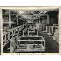 1927 Press Photo Finished Cabinet Frame Assembly Dept - neb88631