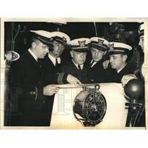 1933 Press Photo USS Cutter Escanaba officers, AJ Wallace,F Sullivan