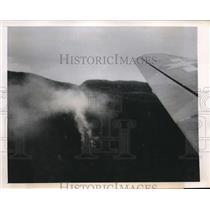 1946 Press Photo Smoke Rising From Hillside Near Harmon Field of Plane Crash