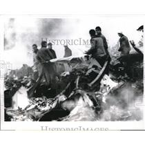 1962 Press Photo Paris, France burning wreckage of Malev Airlines plane